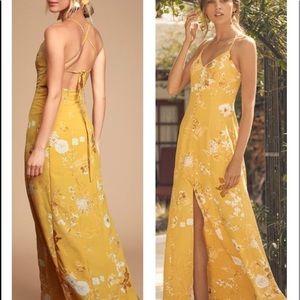 Crista Yellow Print Button-Front Maxi Dress